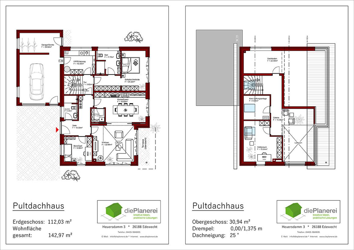 Pultdachhaus Grundrisse