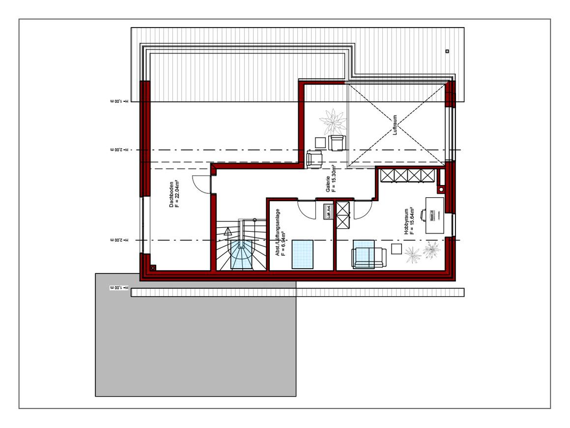 Pultdachhaus Dachgeschoss