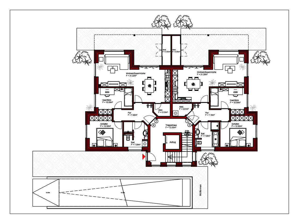 MFH mit Tiefgarage Erdgeschoss