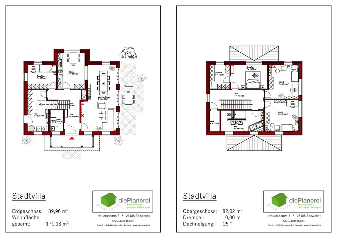 Stadtvilla Grundrisse mit weiteren Informationen